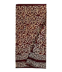 Batik Print on Maroon Cotton Lungi for Men