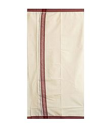 Off-White Cotton Lungi with Maroon Border