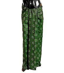 Buy Green Print on Black Cotton Lungi