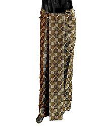 Yellow and White Print on Dark Brown Cotton Lungi