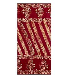Dark Red Batik Cotton Lungi