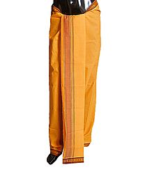 Dark Yellow Plain Cotton Lungi with Maroon Border