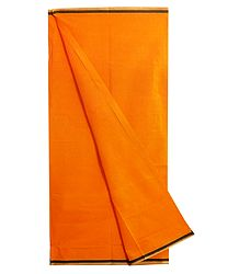 Saffron Plain Cotton Lungi with Black Border