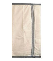 Off-White Cotton Lungi with Grey Border