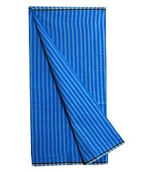 Dark Blue with Light Blue Stripe Cotton Lungi