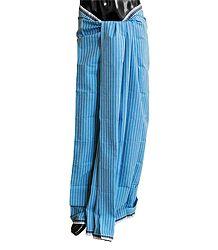Dark Blue with Light Blue Stripe Cotton Lungi