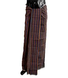 Dark Purple, Brown with Black Stripe Cotton Lungi