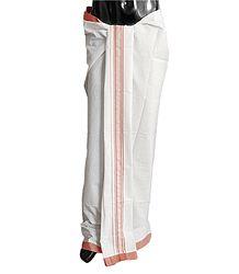Off-White Plain Cotton Lungi with Pink Border