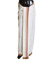 Buy White Plain Cotton Lungi with Maroon Border