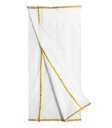 Mens White Cotton Lungi with Golden Border