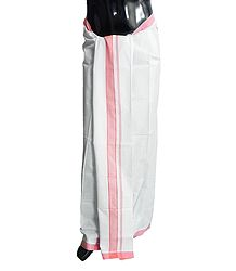 White Cotton Lungi with Pink Border