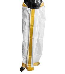 Buy White Plain Cotton Lungi with Golden Zari Border