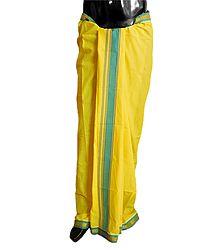 Yellow Plain Cotton Lungi with Cyan Blue Border