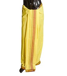 Yellow Plain Cotton Lungi with Maroon Border