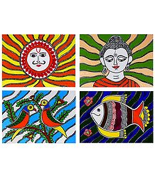 Sungod, Lord Buddha, Fish and Birds - Set of 4 Madhubani Paintings on Unframed Photographic Paper