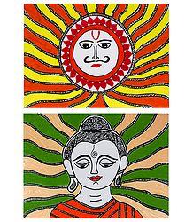 Sungod and Lord Buddha - Set of 2 Madhubani Paintings on Unframed Photographic Paper