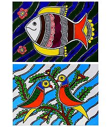 Fish and Birds - Set of 2 Madhubani Paintings on Unframed Photographic Paper