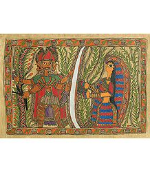 Ravana Abducting Sita - Madhubani Folk Art