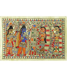 Rama and Sita's Wedding - Madhubani Folk Art