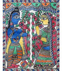 Marriage of Arjuna and Draupadi - Madhubani Painting