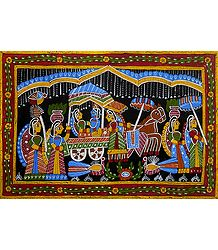 Radha Krishna on Horse Cart - Wall Hanging