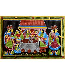 Women Near a Village Well - Wall Hanging