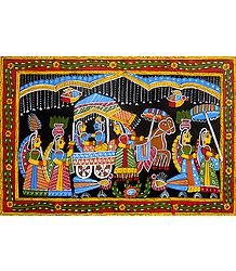 Radha Krishna on a Horse Cart - Wall Hanging