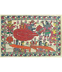 Anantashayan of Vishnu - Madhubani Folk Art