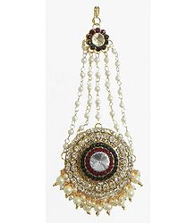 White, Maroon and Green Stone Studded Jhoomar with White Beads - Worn on the Left Side of the Head or as Mang Tika