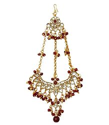 Kundan Jhoomar with Red Beads- Worn on the Left Side of the Head or as Mang Tika