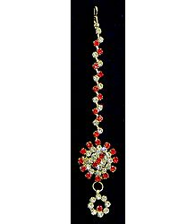 White and Red Stone Studded Mang Tika
