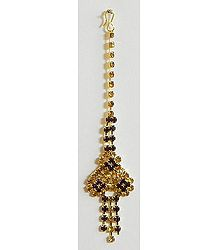 Maroon and Golden Stone Studded Mang Tika