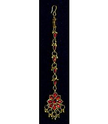 Red Stone Studded Oxidised Metal Mang Tika