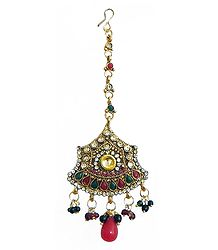 Maroon and White Stone Studded Oxidised Metal Polki Mang Tika
