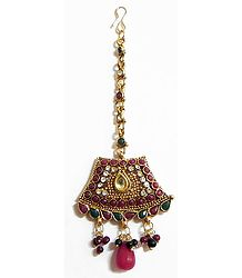 Maroon, Green and White Stone Studded Oxidised Metal Polki Mang Tika