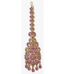 Faux Ruby Studded Mang Tika