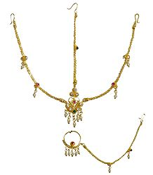 Gold Plated Matha Patti with Mang Tika and Nose Ring