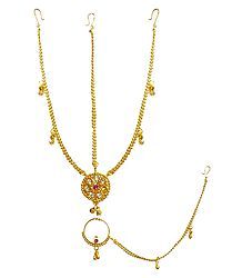 Gold Plated  Matha Patti with Maang Tika and Nose Ring