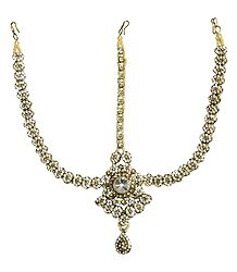 White Stone Studded Shringar Patti