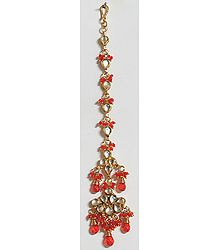 Saffron Bead with Kundan Work Gold Plated Maang Tikka