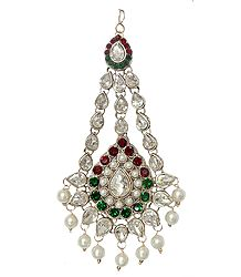 White, Green and Red Faux Zirconia Studded Jhoomar