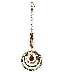 Faux Zirconia, Emerald and Garnet Studded Mang Tika