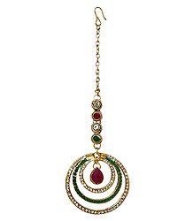 Faux Zirconia, Emerald and Garnet Studded Mang Tika