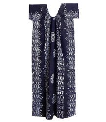 White Batik Print on Dark Blue Cotton Maxi
