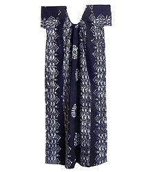 White Batik Print on Dark Blue Cotton Maxi