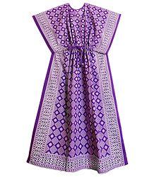 Purple and White Batik Print on Cotton Kaftan