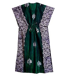 Cyan, Black and White Batik Print on Cotton Kaftan