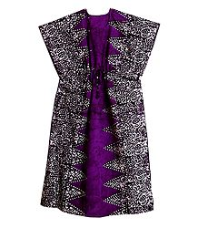 Purple with Dark Brown Batik Print on Cotton Kaftan
