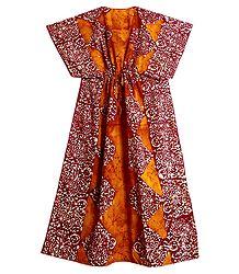 Yellow with Red Batik Print on Cotton Kaftan