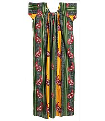 Yellow and Green Stripe with Yellow Leaf Print on Black Cotton Maxi